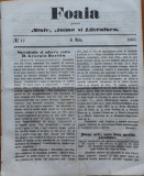 Foaia pentru minte , inima si literatura , nr. 17 , 1863 , Brasov , I. Muresanu