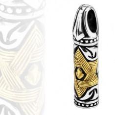 Pandantiv din oțel - cilindru, steaua lui David