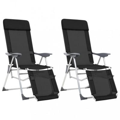 vidaXL Scaune camping pliabile, 2 buc, negru, aluminiu, suport picioare foto