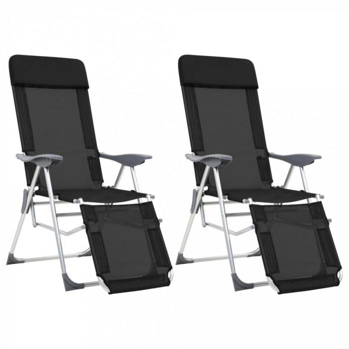 vidaXL Scaune camping pliabile, 2 buc, negru, aluminiu, suport picioare