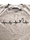 Bluza pictata manual cu Pisica Heartbeat