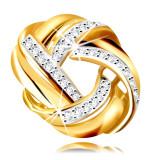 Cumpara ieftin Pandantiv din aur combinat 14K - plăcuță cu zirconii minuscule clare și o linie strălucitoare