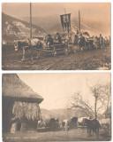SV * 2 FOTO DOCUMENT WWI * TABARA LA FRONTIERA ROMANO - UNGARA * CONVOI MORTUAR