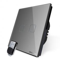 Intrerupator dublu wireless RF touch cu telecomanda Cnskou, panou tactil de sticla cristal, gri