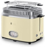 Prajitor de paine Russell Hobbs Retro Vintage Cream 21682-56, 1200 W, 2 felii, Prajire rapida, Gratar pentru chifle (Crem/Inox)