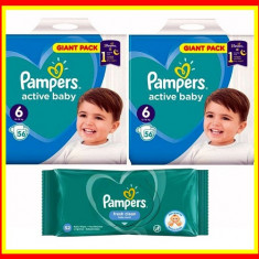 Pampers Scutece Nr 6 Active Baby Giant Pack, 13-18 kg, 112 Buc + Servetele Umede