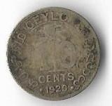 Moneda 10 cents 1920 - Ceylon, 1,166 g argint 0,8000