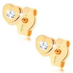 Cercei din aur galben 9K - inimă mică cu zirconiu transparent, cu şurub
