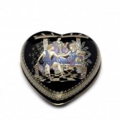 Caseta mica de bijuterii inimioara cu foita de Auriu24k Cod Produs 1190