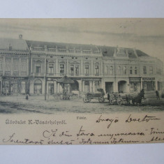 Rara! Targu Secuiesc:magazine/piata principala,carte postala circulata 1903