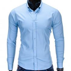 Camasa pentru barbati bleu simpla uni slim fit elastica cu guler bumbac K219