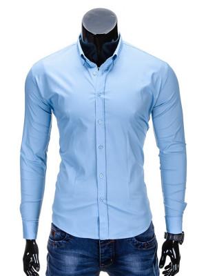 Camasa pentru barbati, bleu, simpla, uni, slim fit, elastica, cu guler, bumbac - K219 foto