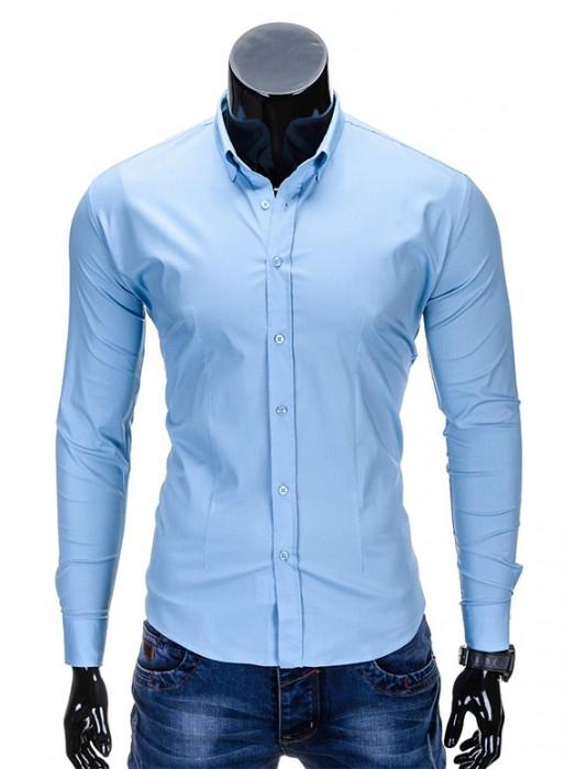 Camasa pentru barbati, bleu, simpla, uni, slim fit, elastica, cu guler, bumbac - K219