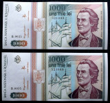 ROMANIA set lot 2 x 1000 1.000 LEI  MAI 1993 consecutive UNC necirculate **