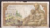 Franta 1943(11-2) - 1000 francs, deteriorata