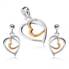 Set din argint 925 - pandantiv şi cercei, contururi de inimă, argintiu şi auriu