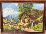 Tablou,pictura in  ulei pe panza,rustic romanesc foarte vechi