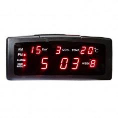 Ceas birou cu calendar ZXTL-13A, LED, Negru
