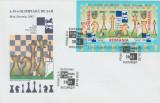 2002 Romania, FDC A 35-a Olimpiada de Sah - Bled, Slovenia (triptic), LP 1595, Romania de la 1950, Sport