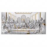 Icoana mare de perete din Argint 92×45 cm Cina Cea De Taina – Auriu COD: 3358