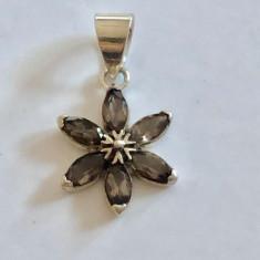 Medalion Argint Cuart Fumuriu - Floare