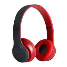 Casti audio bluetooth P47, 10 m, radio, suport card SD, microfon, Negru/Rosu