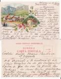 Salutari din Romania - Busteni, Govora- litografie  1898, Circulata, Printata