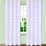 Perdea semi-transparenta, model cu ciucuri roz, 250×140 cm, alb