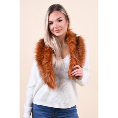 Fular Vero Moda Leticia Faux Fur Burgundy foto