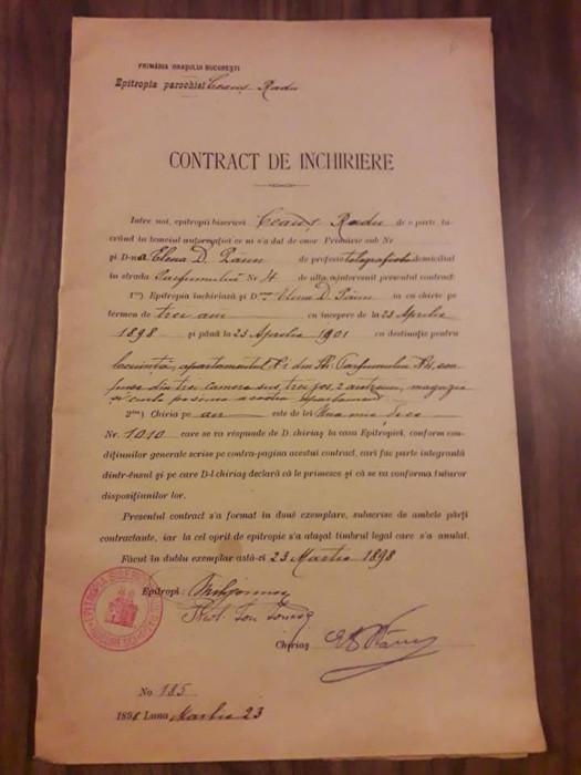 Contract inchiriere 1898 parohia Ceaus Radu Bucuresti