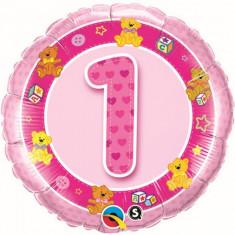 Balon 1 an fetita din folie cu ursuleti 43 cm