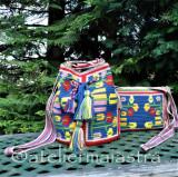 Cumpara ieftin Set genti handmade crosetate ornamentate cu motivul popular din Oltenia flori, Geanta de umar, Multicolor, Microfibra