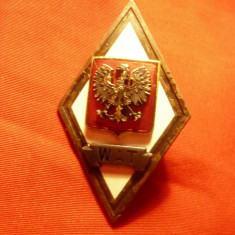Insigna Academia Tehnica Militara Polonia WAT , metal si email , h=4,5cm