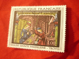 Timbru Franta 1966 Pictura - Vitraliu Din Saint Madeleine, stampilat