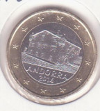 Andorra 1 euro 2014 UNC !! - Schön# 507, KM# 526, Europa