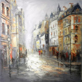 Strada noaptea- pictura in ulei OP-7, Peisaje, Realism