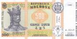 Bancnota Moldova 500 Lei 1992 (1999) - P17 UNC