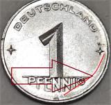 Moneda 1 PFENNIG - RD GERMANA, anul 1950  *cod 458 B - EROARE BATERE SURPLUS