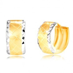 Cercei din aur de 14K - cerc cu margini mate realizate din aur alb