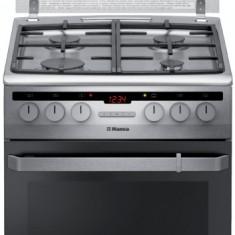 Aragaz mixt Hansa FCMX59221, cuptor electric, 50 cm, 4 arzatoare, autocuratare catalitica, 8 functii, grill, ventilator, rotisor, aprindere electrica,