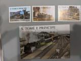 Sao tome si principe - Timbre trenuri, locomotive, cai ferate, nestampilate, MNH, Nestampilat