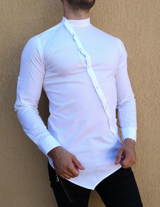 Camasa asimetrica - camasa alba- camasa barbati slim - camasa barbati