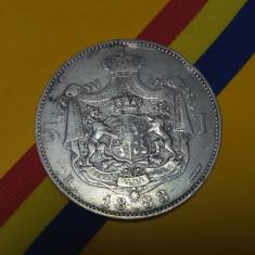 SV * Romania  5  LEI  1883  *  ARGINT .835  *  Regele Carol I