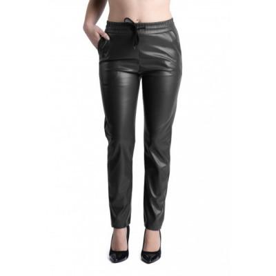 Pantaloni Dama Boyfriend Imitatie Piele Negru Sophia foto