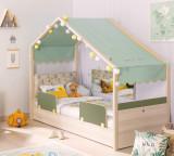 Cumpara ieftin Pat din pal cu 2 protectii, pentru copii Montessori New Natural / Verde, 180 x 80 cm