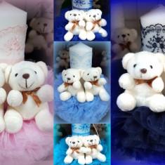 Lumanare de botez pentru fetite si baieti - 2 Ursuleti, diverse culori