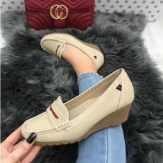 Pantofi dama bej cu talpa ortopedica marime 39, 40, 41+CADOU