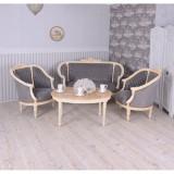 Set baroc din lemn masiv alb cu tapiterie din catifea gri CAT502D19, Sufragerii si mobilier salon