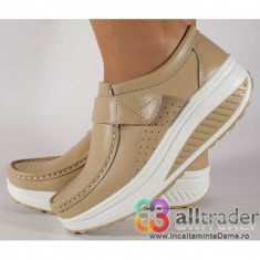 Pantofi bej talpa convexa, piele naturala dama/dame/femei (cod AC019-32V2)