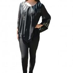 Bluza eleganta asimetrica cu strasuri, nuanta de negru